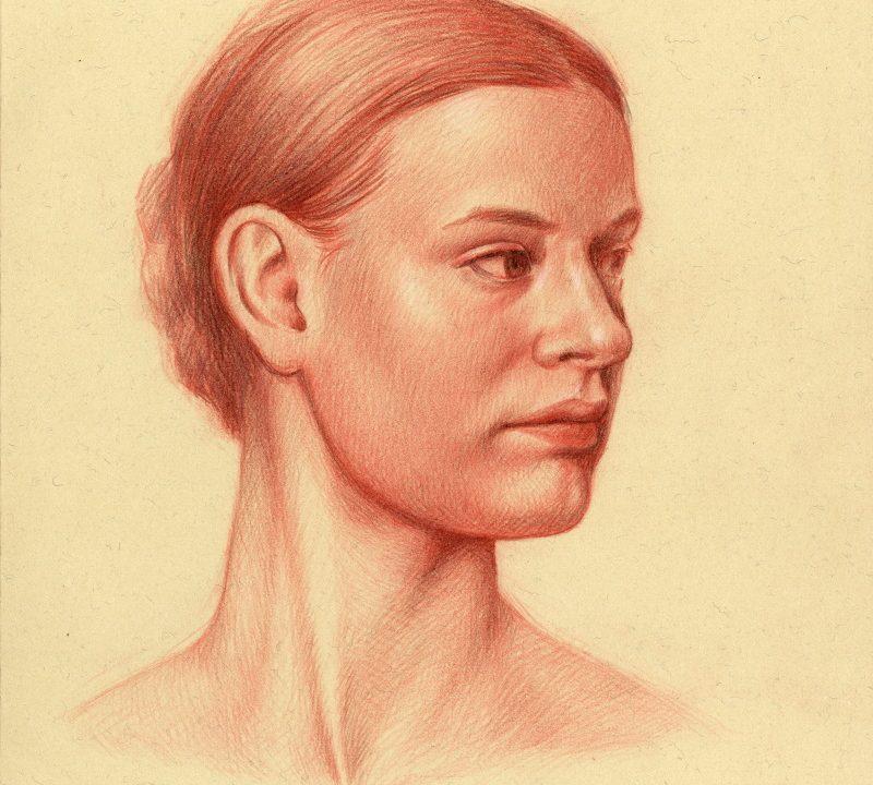 Portrait of Megan, color pencil on toned paper